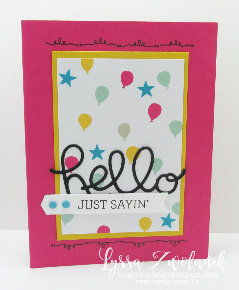 Hello thinlets sizzix stampinup birthday card