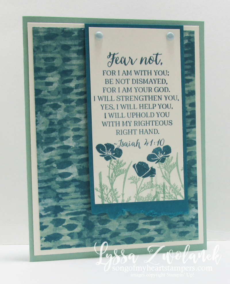 Fear Not I Am With Thee encouragement sympathy card floral Stampin Up Scripture Verse