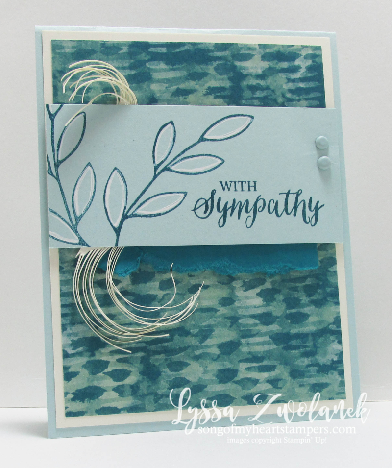 Blue and cream leaves nature sympathy card sorry for your loss