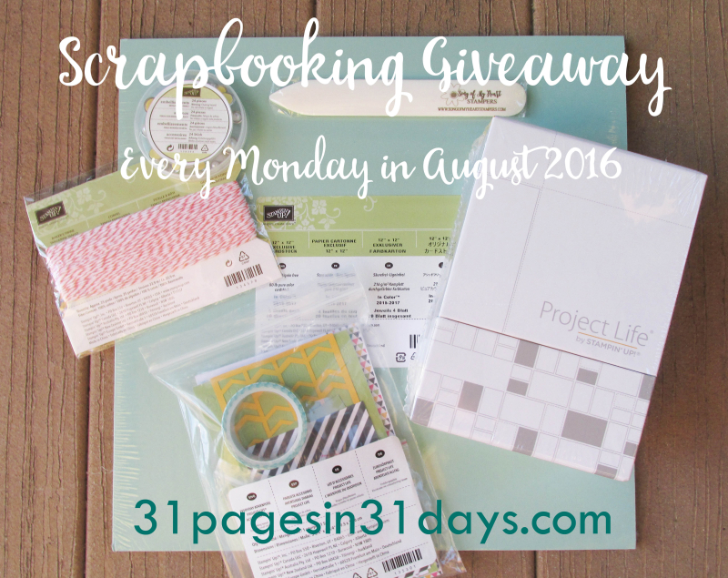Blog Candy 31 pages in 31 Days Scrapbooking Stampin Up SOMH