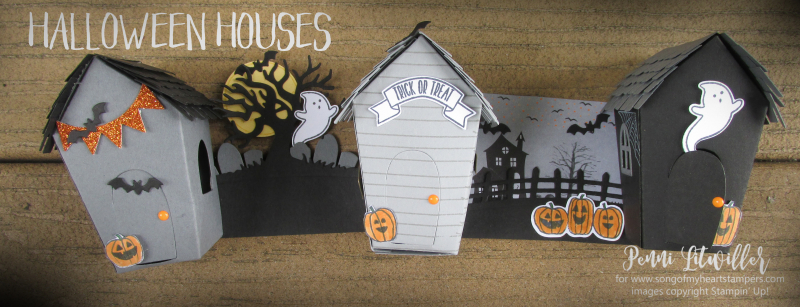 Halloween Sweet Treat Houses Home decor Stampin Up scary spooky wreath