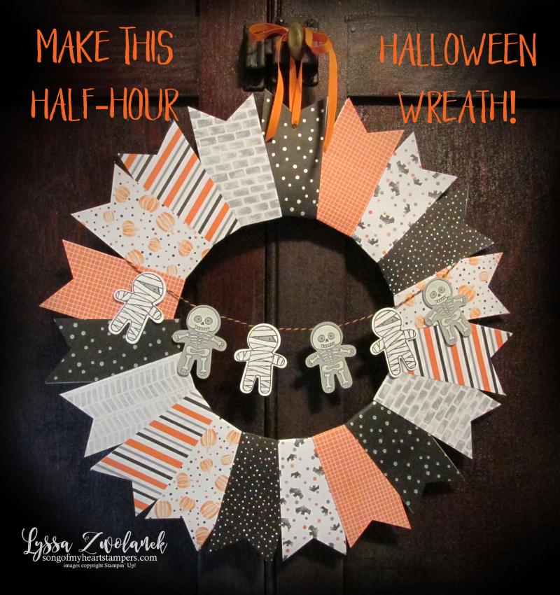 Halloween Wreath Stampin Up designer series paper tutorial  home decor cookie cutter punch art