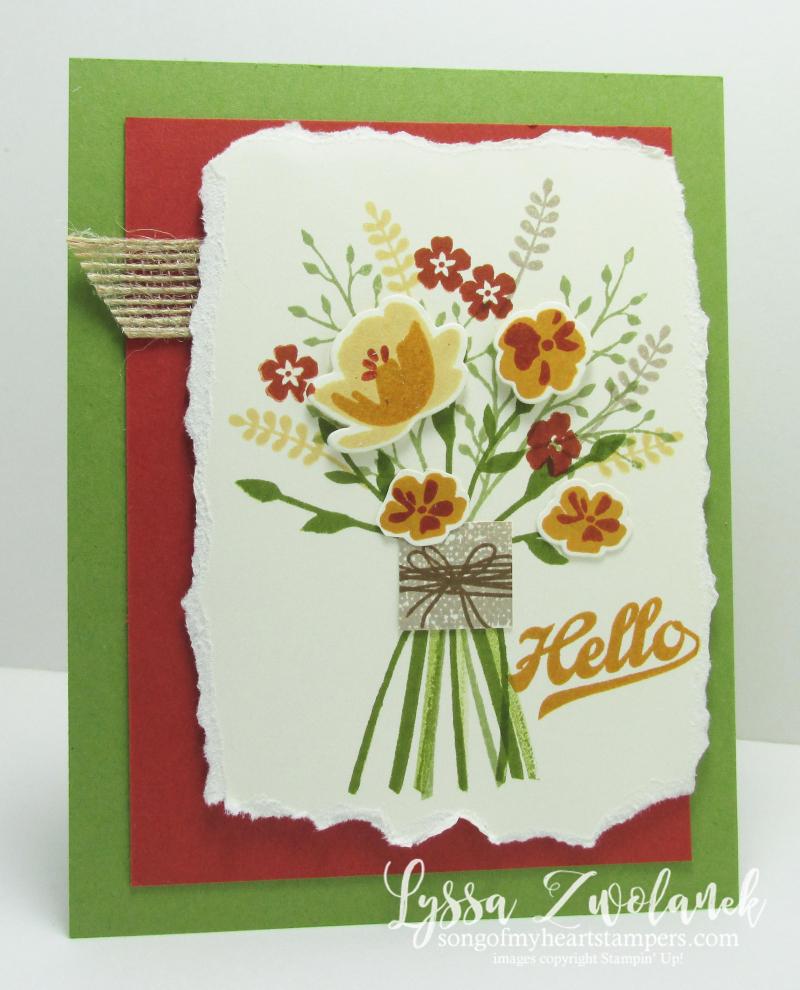 Jars of Love Boquet Flower handtied Stampin Up card everday cardmaking