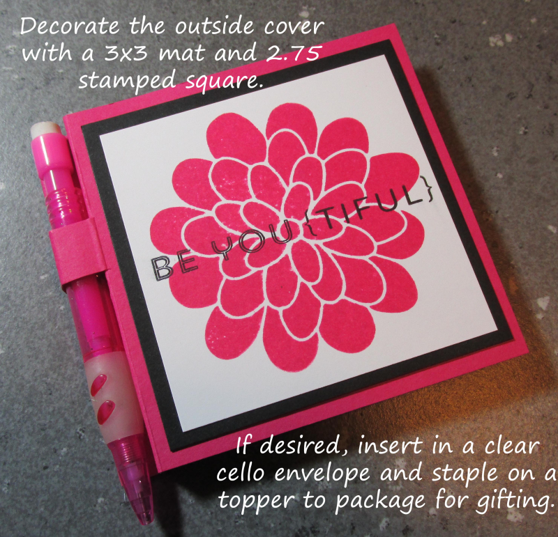 Covered Post It Note Pads with Pens Little Foxy Stampin Up tutorial craft fair
