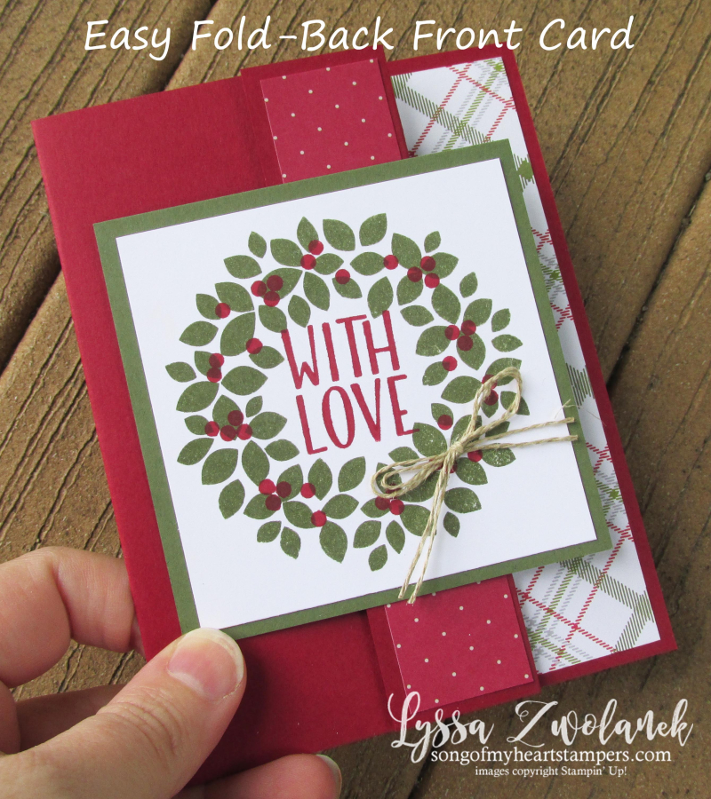 Easy Fold Back Front Card Stampin Up Christmas Cards Holiday Wreath