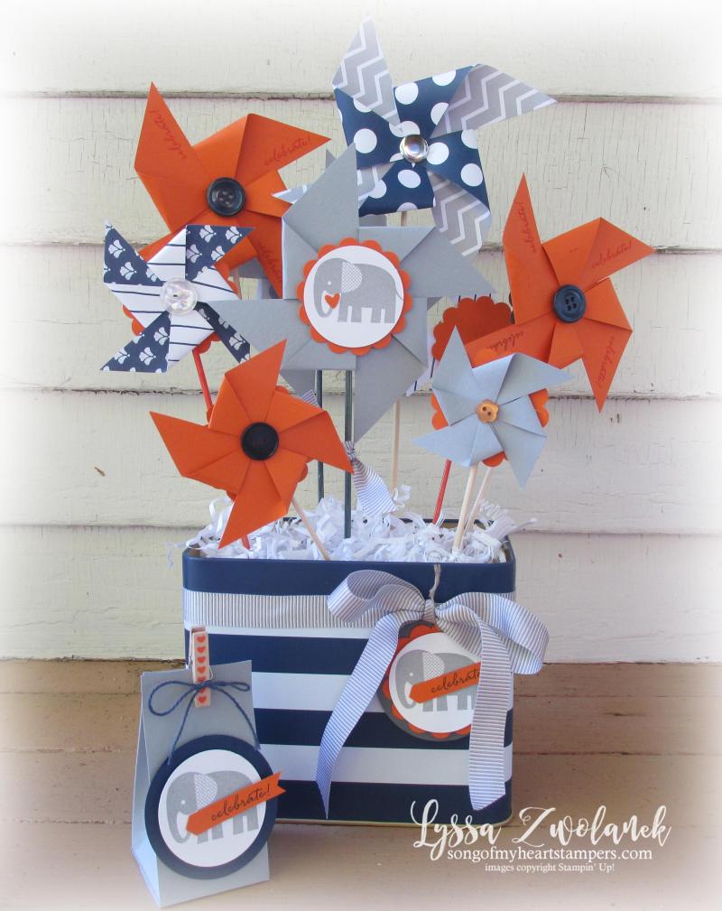 Elephant Baby Shower boy orange navy gray theme Stampin Up