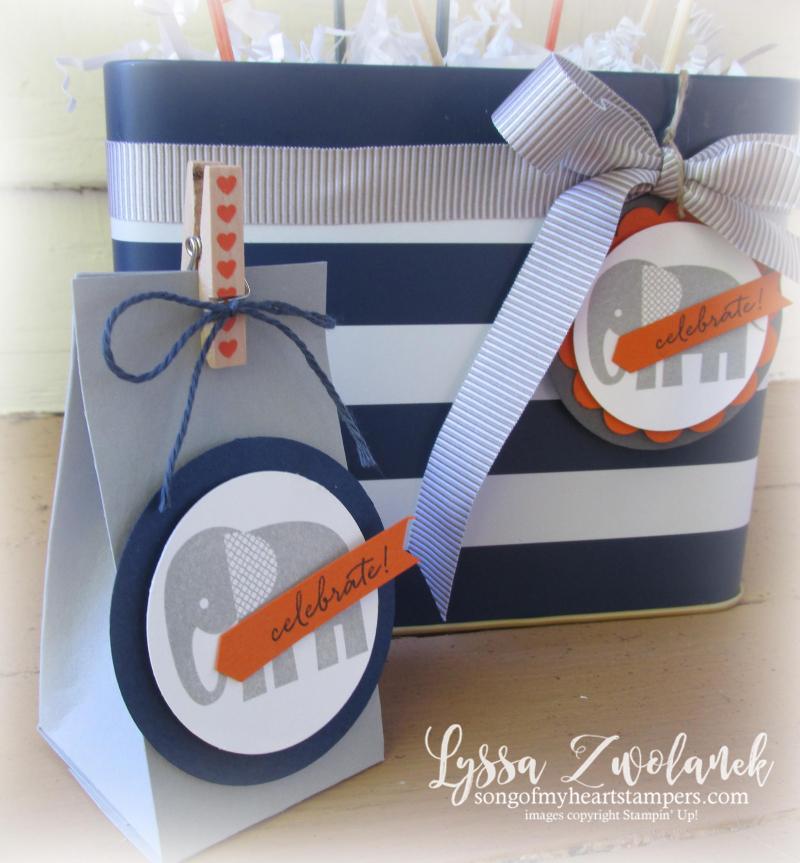 Elephant Baby Shower boy orange navy gray theme Stampin Up pumpkin