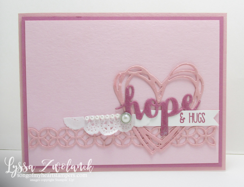 Sunshine Wishes Sayings Thinlets Sizzix Stampin Up breast cancer hope hugs pink card