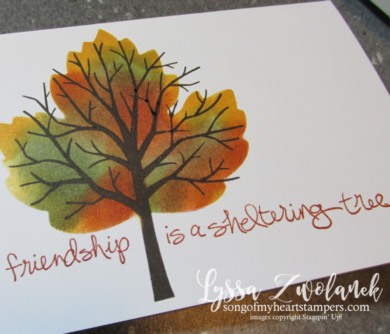 Two minute technique multicolor autumn leaf tree branches card