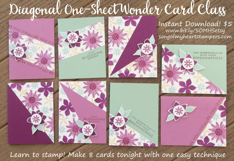 Diagonal One Sheet Wonder Cardmaking Class Stampin Up rubber stamping techniques