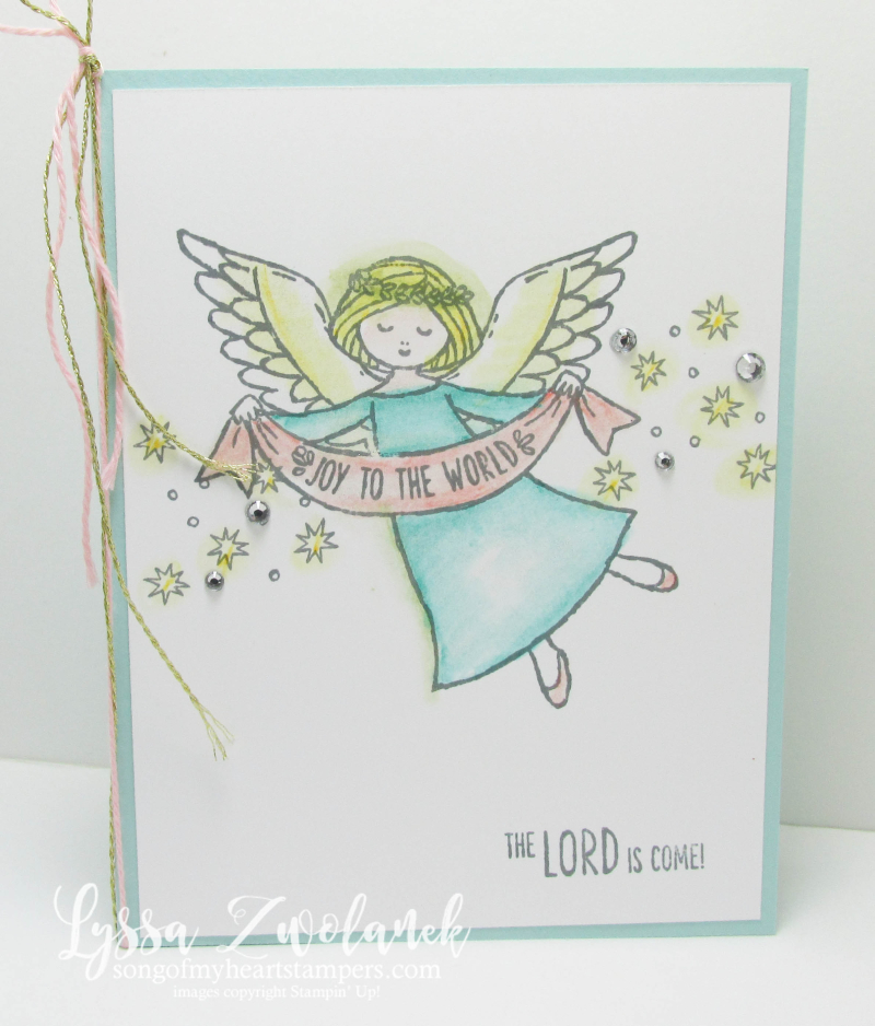 Joy to the World the Lord is Come Stampin Up angel stamp set pastels gold twine pink Christmas card nontraditional colors