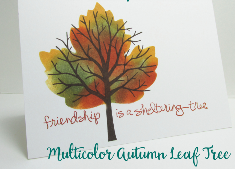 Multicolor autumn leaf two minute techniques 2 min rubber stamping card