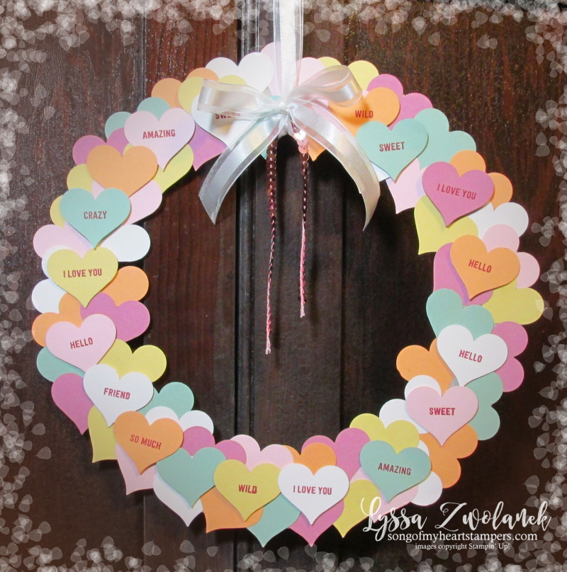 Conversation hearts Valentine heart punch valentines day Stampin Up thoughtful banners candy decor wreath party Lyssa Zwolanek blog