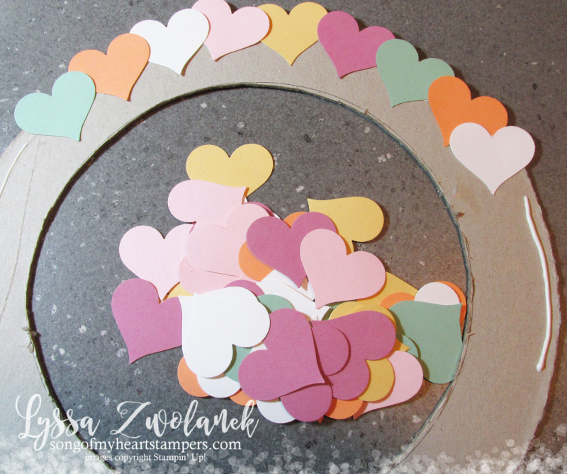 Conversation hearts Valentine heart punch valentines day Stampin Up thoughtful banners candy wreath DIY Lyssa Zwolanek blog