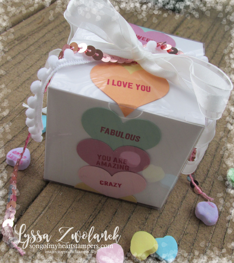 Conversation hearts Valentine heart punch valentines day Stampin Up thoughtful banners candy Lyssa Zwolanek blog