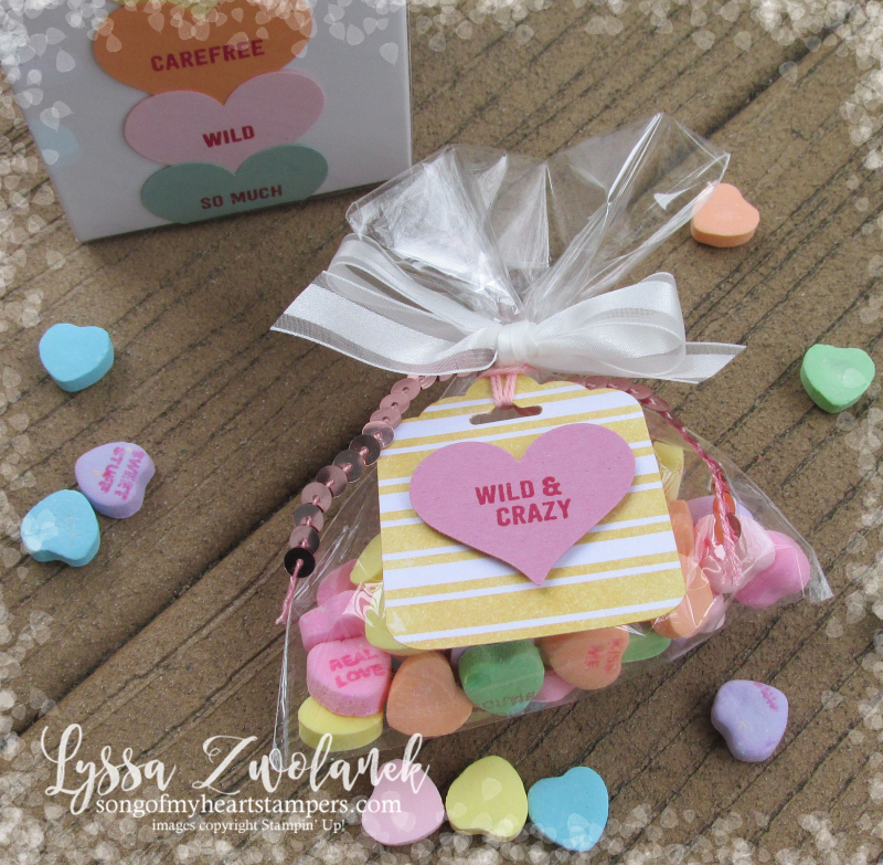 Conversation hearts Valentine heart punch valentines day Stampin Up thoughtful banners candy favors party Lyssa Zwolanek blog