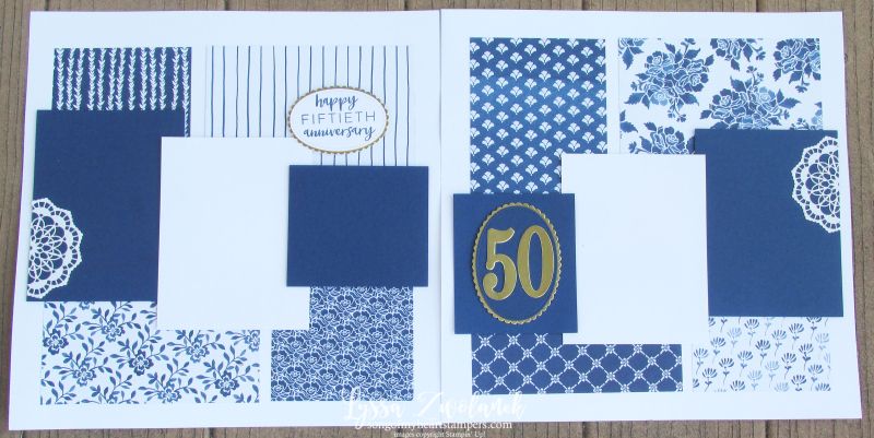 4x4 Scrapbooking Class Delft Blue Anniversary Layout Stampin Up Floral Boutique Wedding lace doilies Framelits Thinlets