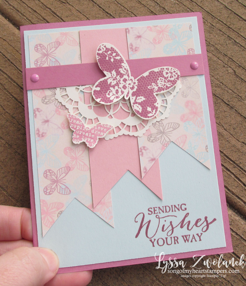 Sending Wishes Your Way Butterfly Basics Stampin Up falling in love papers lace card