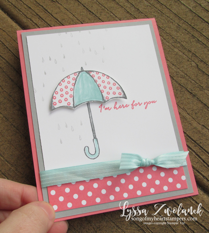 Under the Weather Stampin Up get well soon umbrella shower rain polka dots card