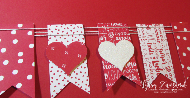 Valentine Scrapbook Layout Heart Banner double page spread scrapbooking