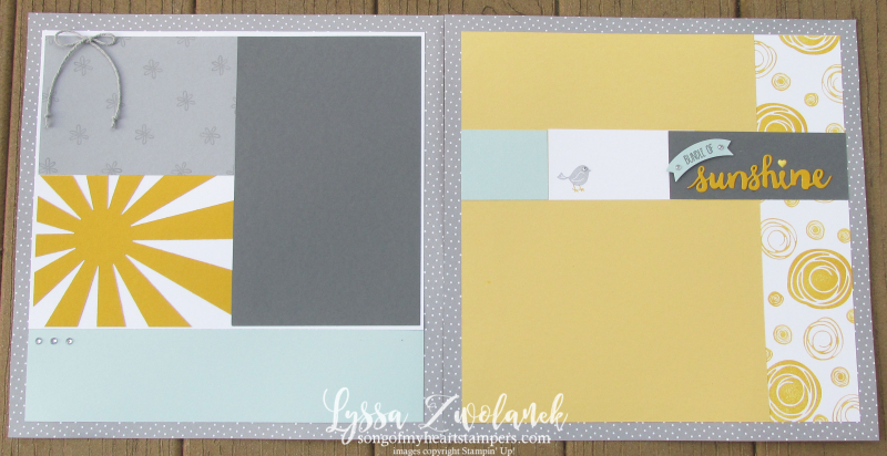 Sunshine starburst sunburst scrapbook baby pages layout stampin up