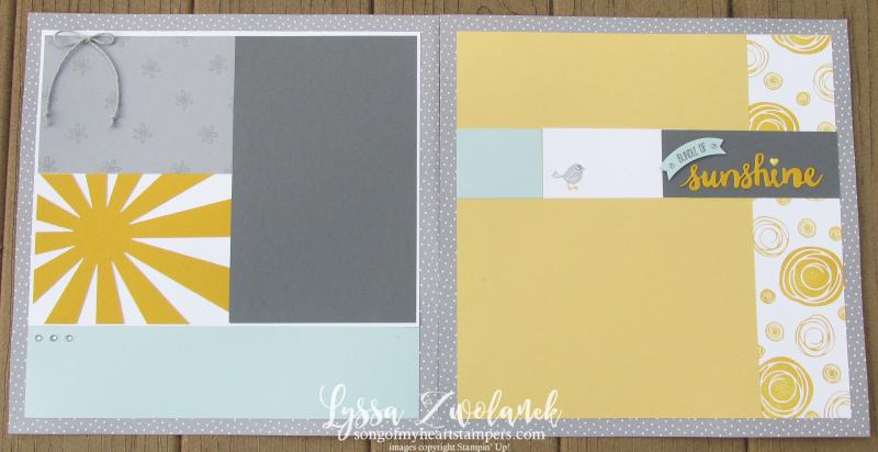 Sunshine starburst sunburst scrapbook baby pages layout stampin up