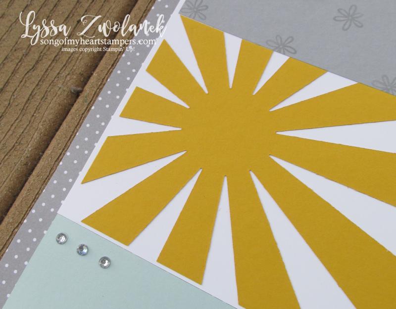 Sunshine starburst sunburst scrapbook pages layout stampin up