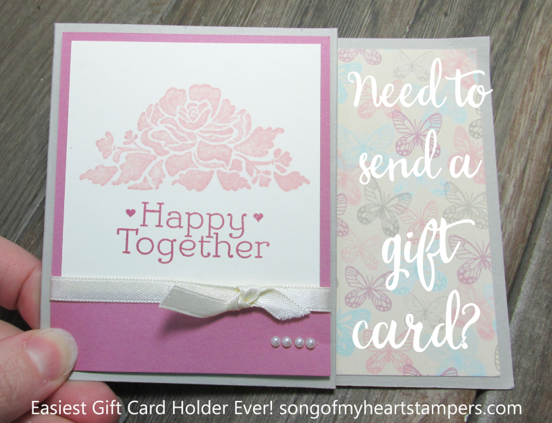 Easiest Gift Card Holder Ever stampin up fancy fold Lyssa song of my heart tutorial