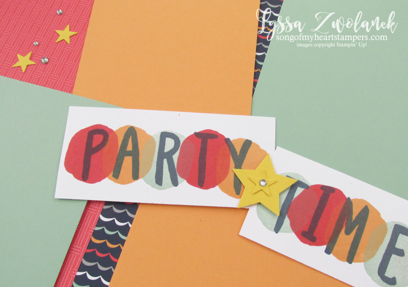 Striped scrapbooking party time layout scrapbook spread Stampin Up Layered Letters star birthday 12x12