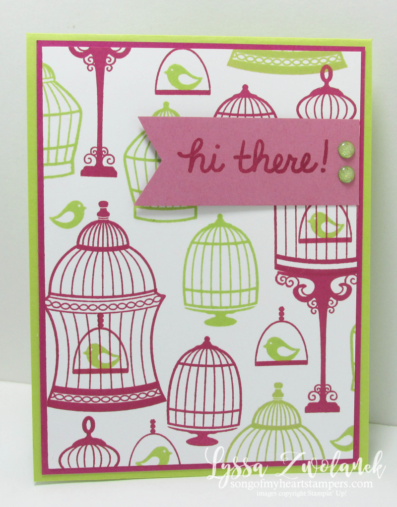 Birdcage Builder stampin up bird cage rubber stamping lemon lime Lyssa cardmaking