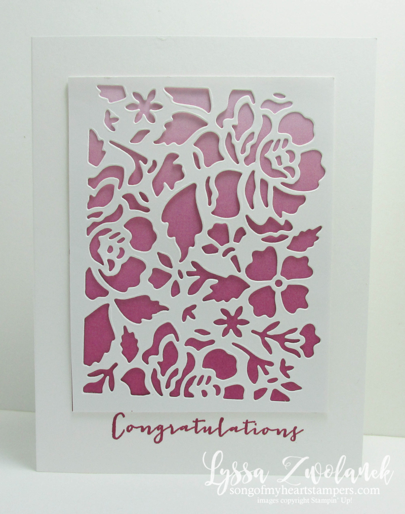 Timeless Love anniversary card Stampin Up Color Theory Papers ombre berry burst Floral Detailed Thinlet