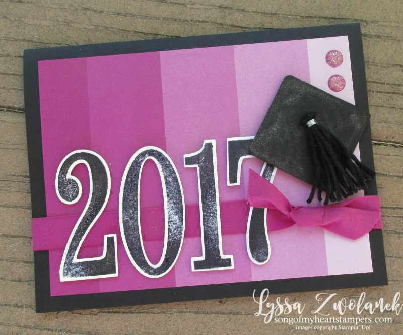 Graduation card grad cap happy congratulations stampin up ideas ombre color theory  punch art Lyssa