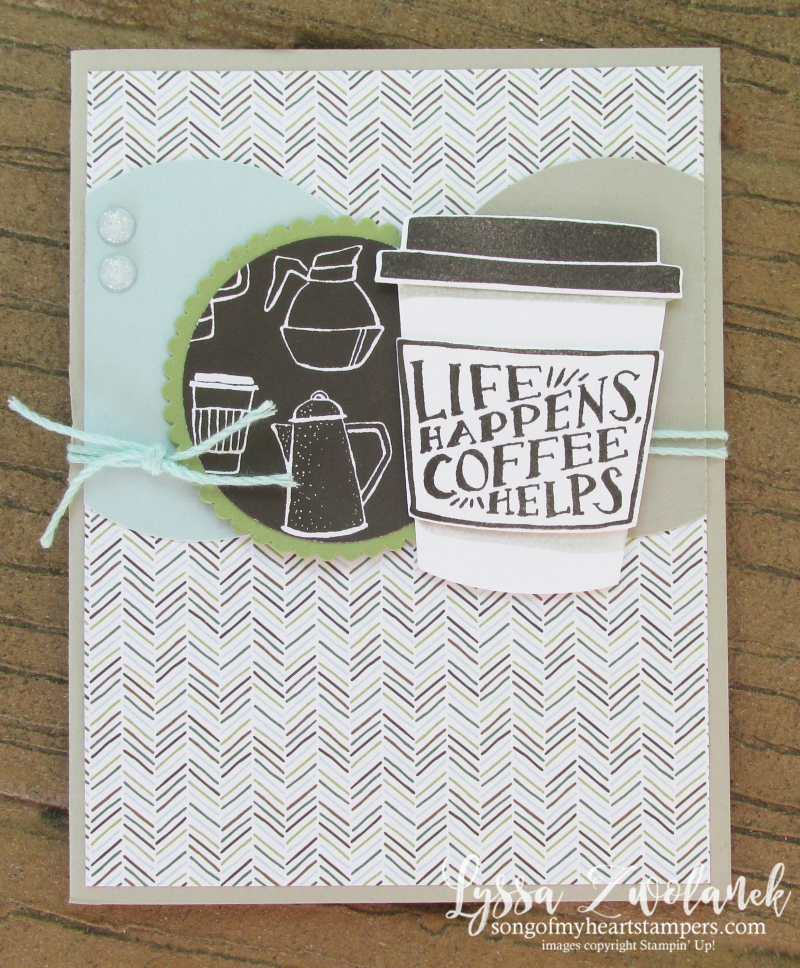 Coffee Cafe Break Time scrapbooking papers DIY cardmaking Stampin Up shop with Lyssa