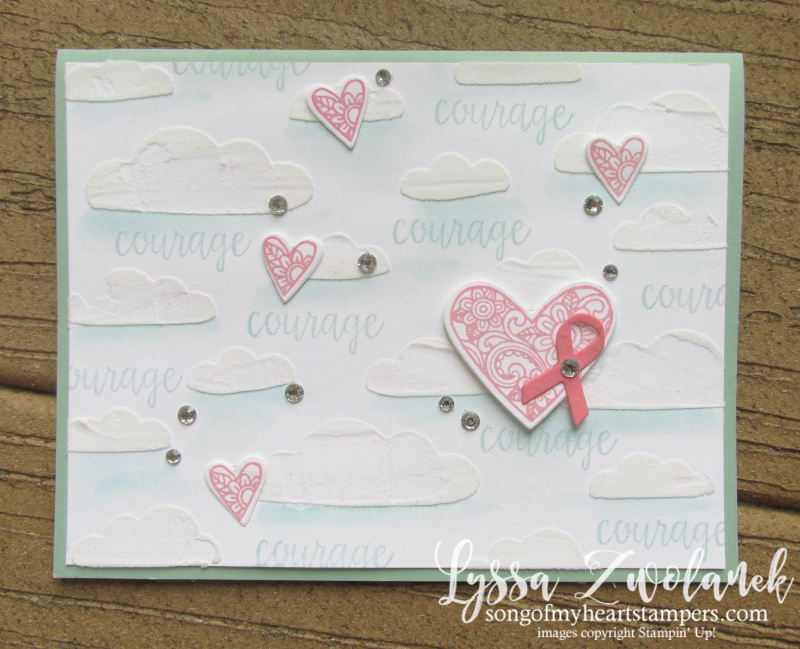Ribbon of Courage awareness ribbons ebossing paste stencils Stampin Up quick dry