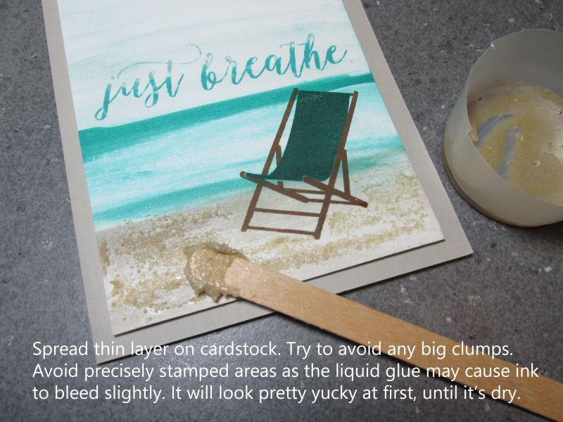 Sandy Beach technique sand glue baby wipes wave Just Breathe fine tip glue Stampin Up free tutorial