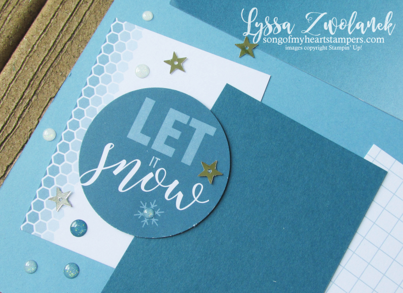 Let it Snow Christmas snowman pages stampin up 31 days scrapbooking layout Lyssa