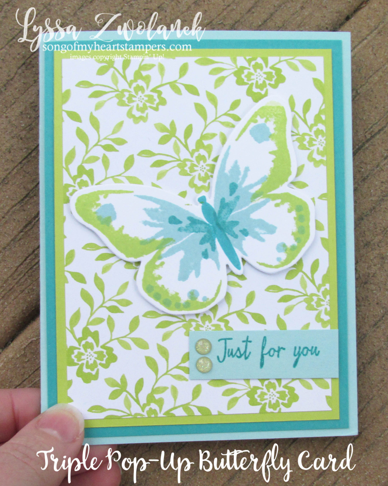 Triple Butterfly Pop Up Card free tutorial Lyssa Stampin Up technique bold butterflies free rubber stamping card ideas