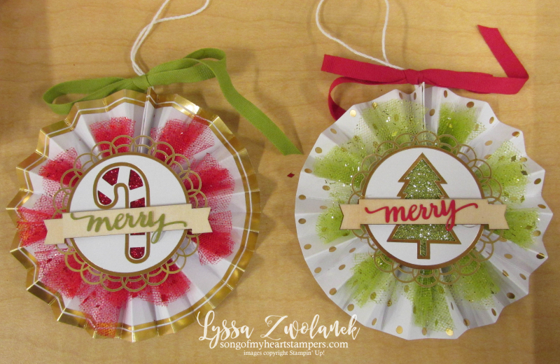 Christmas Ornament Kit Stampin up Merry Bright pinwheel tutorial Lyssa