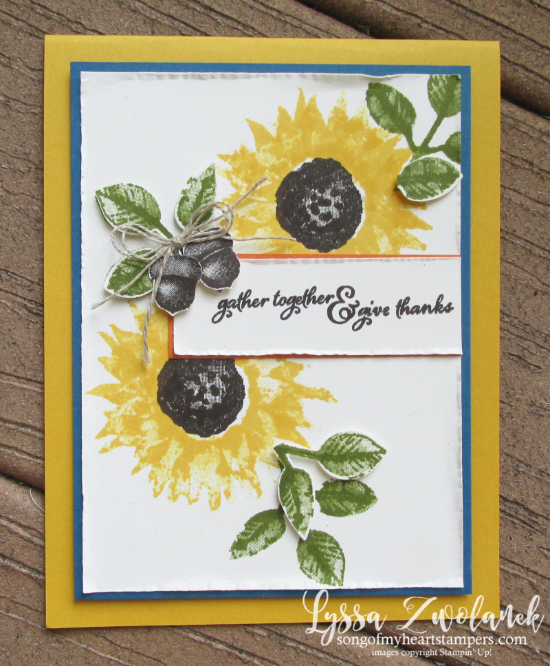 Painted Harvest Class Month Stampin Up Lyssa sunflowers leaf punch