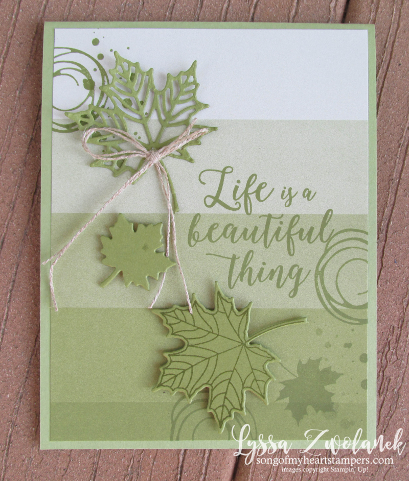 Fall leaves autumn Color Theory Stampin Up thanksgiving green monochromatic