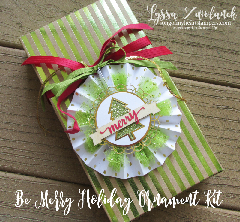 Be Merry holiday ornament stampin up kit Lyssa DIY Christmas packaging decor