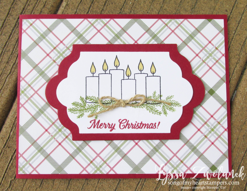 Merry Patterns Christmas Stampin Up plaid candles evergreens holiday card rubber stamping