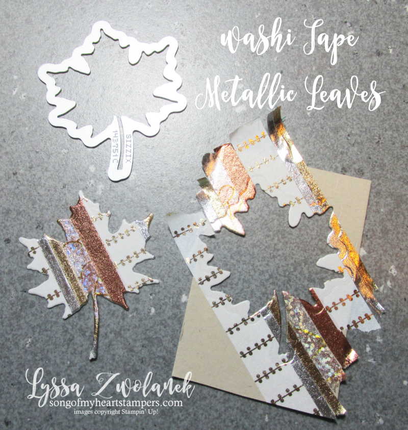 Metallic Washi Tape Autumn Leaves Leaf stampin up Lyssa fall tutorial card stamps