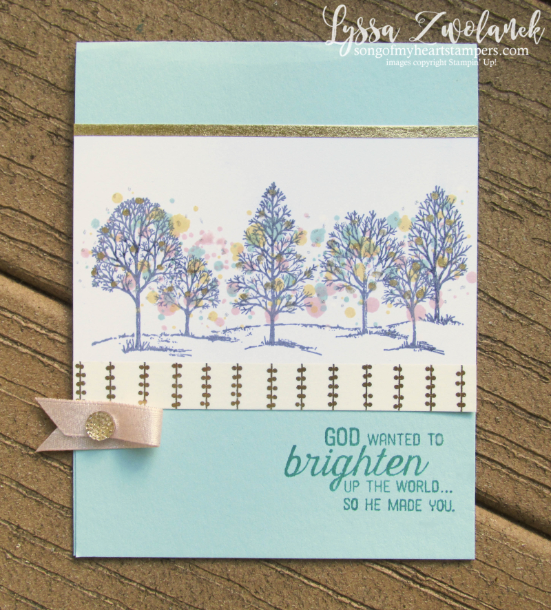 Lovely As Tree Stampin Up Lyssa spatter technique leaves trees rubber stamping cardmaking
