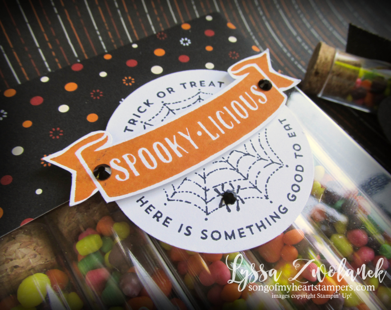 Halloween treat tubes candy holders acetate card boxes stampin up Lyssa Nerds M&M mini pizza boxes