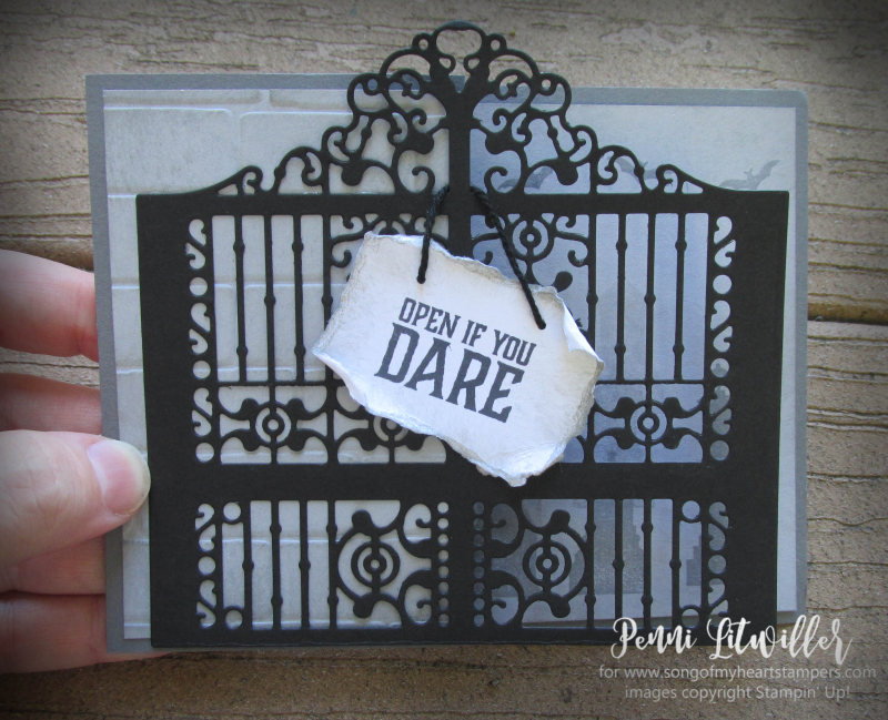 Detailed Graveyard Gate Thinlets zfold z-fold card haunted gravestones halloween spooky Stampin Up