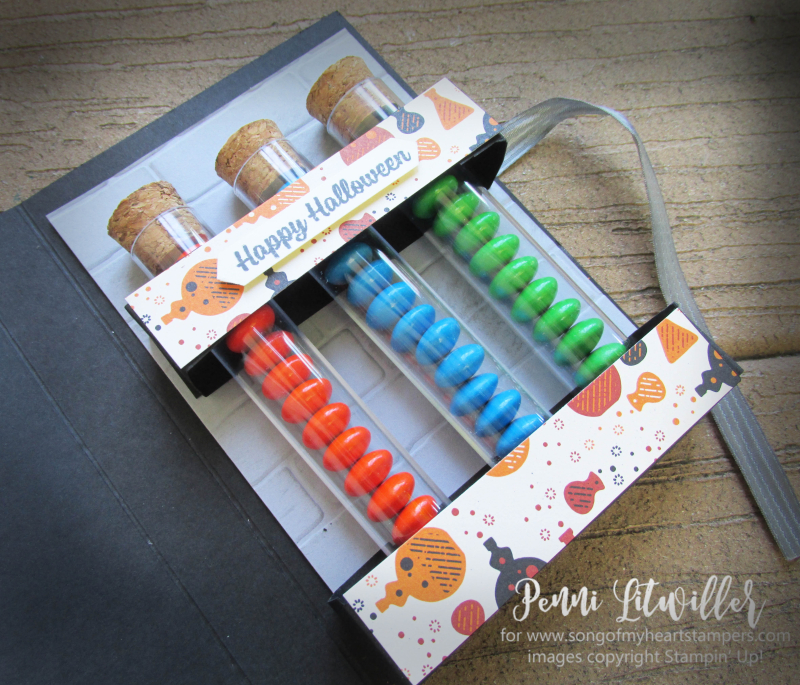 Detailed Thinlets Mad Scientist test treat tubes kit Spooky Night Stampin Up M&Ms graveyard gate