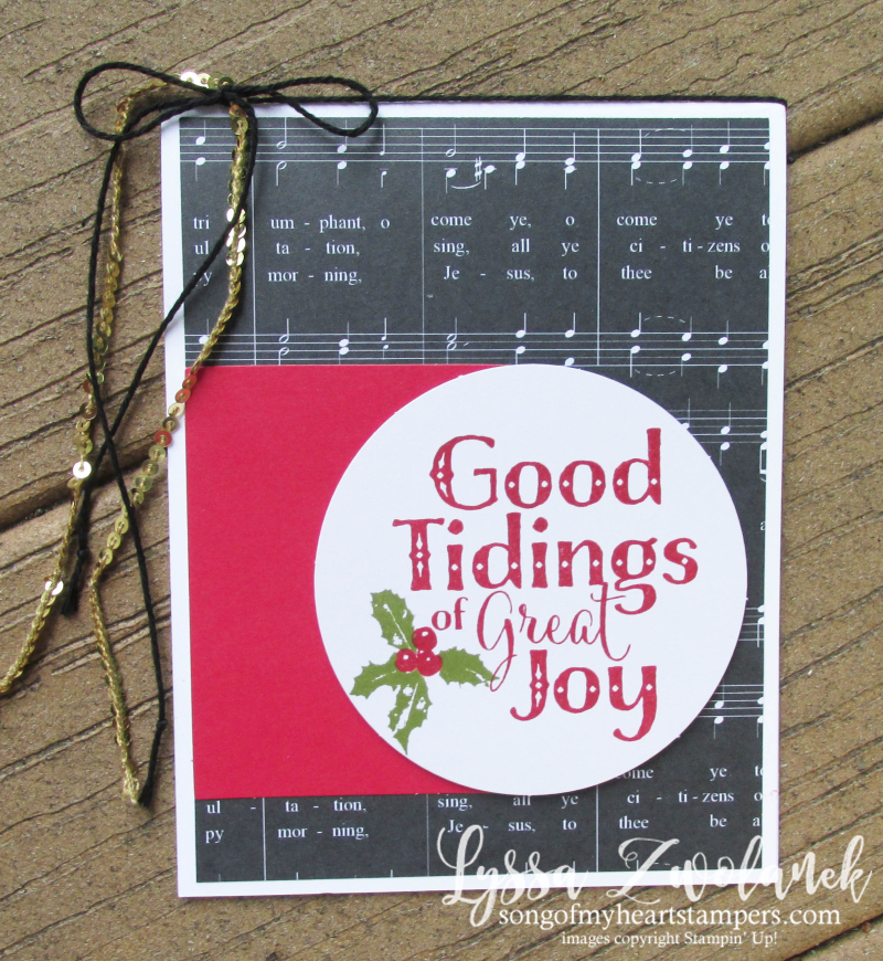 Good Tidings Great Joy stamp set stampin up Christmas holiday cards holly music papers