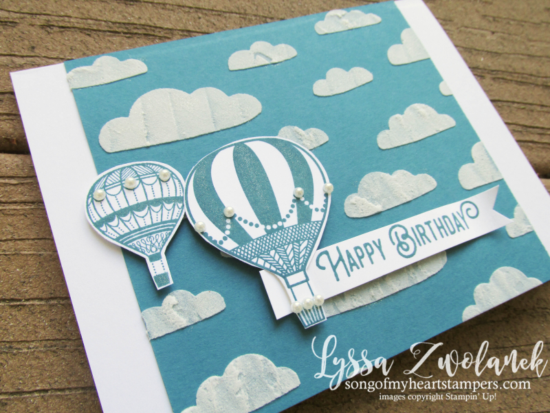Lift Me Up hot air balloon ride birthday embossing paste cloud stencils cloud Stampin Up