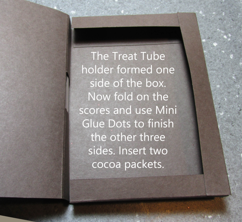 Double cocoa packet treat tube holder hot chocolate Christmas gift Stampin Up Merry Cafe Coffee stamps 1